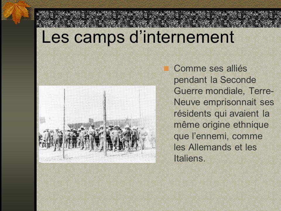 Les camps dinternement Comme ses alliés pendant la Seconde Guerre mondiale, Terre- Neuve emprisonnait ses résidents qui avaient la même origine ethniq