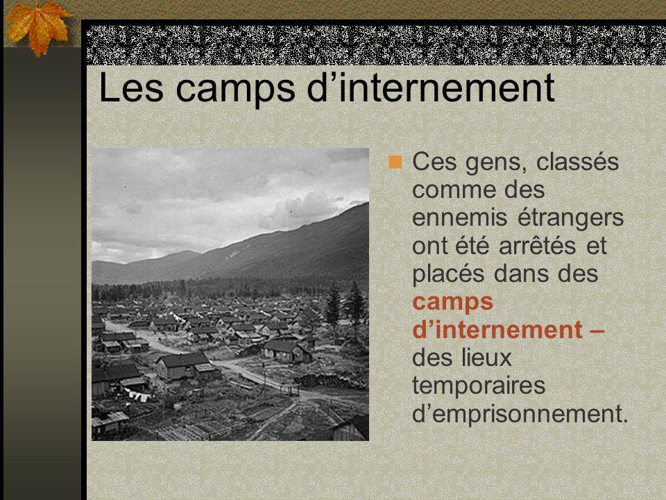 Les camps dinternement Ces gens, classés comme des ennemis étrangers ont été arrêtés et placés dans des camps dinternement – des lieux temporaires dem
