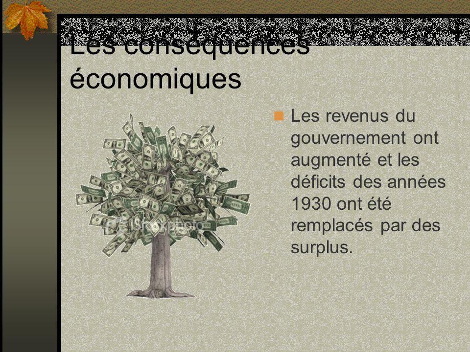 Les conséquences économiques Les revenus du gouvernement ont augmenté et les déficits des années 1930 ont été remplacés par des surplus.