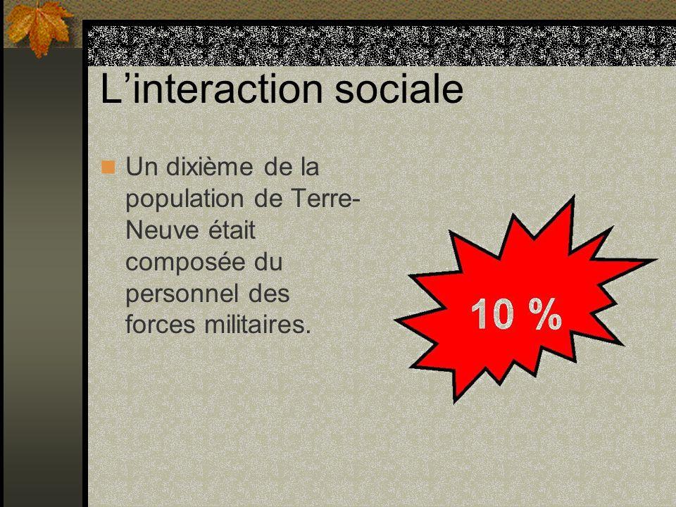 Linteraction sociale Un dixième de la population de Terre- Neuve était composée du personnel des forces militaires.