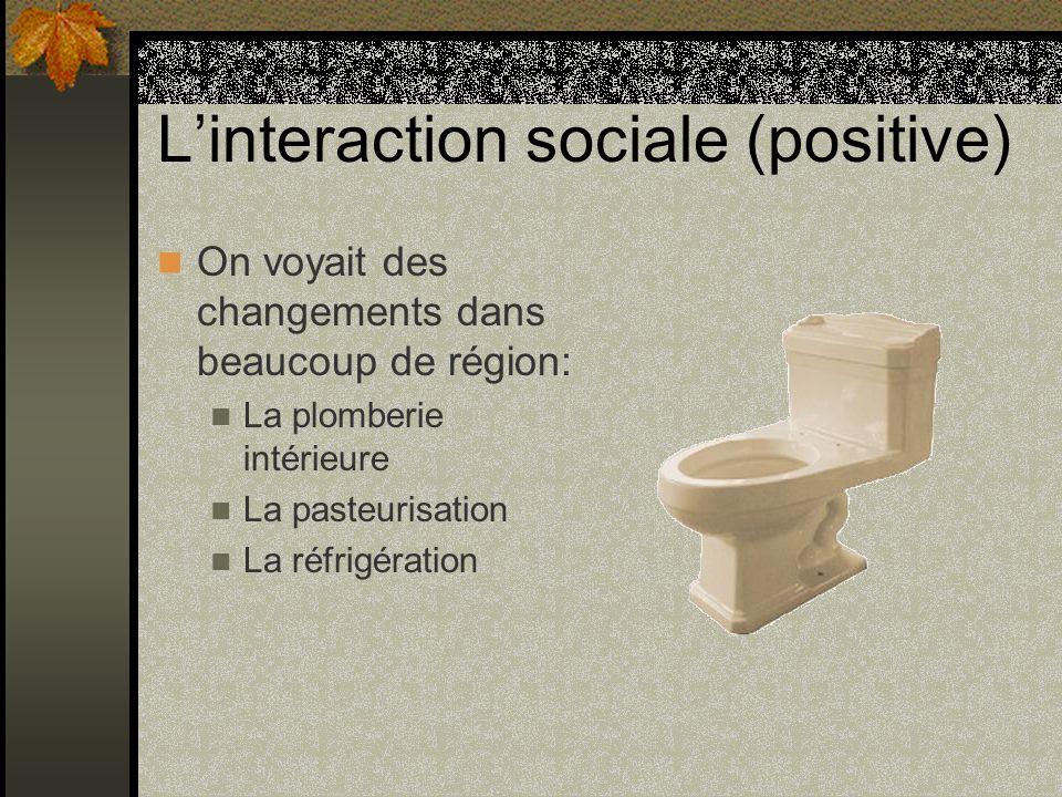 Linteraction sociale (positive) On voyait des changements dans beaucoup de région: La plomberie intérieure La pasteurisation La réfrigération