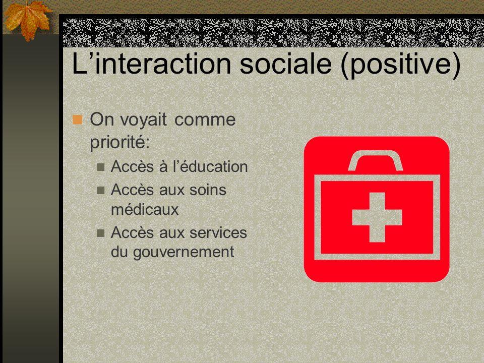 Linteraction sociale (positive) On voyait comme priorité: Accès à léducation Accès aux soins médicaux Accès aux services du gouvernement