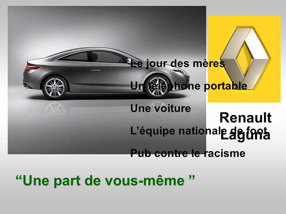 Renault Laguna Une part de vous-même Le jour des mères Un téléphone portable Pub contre le racisme Une voiture L équipe nationale de foot