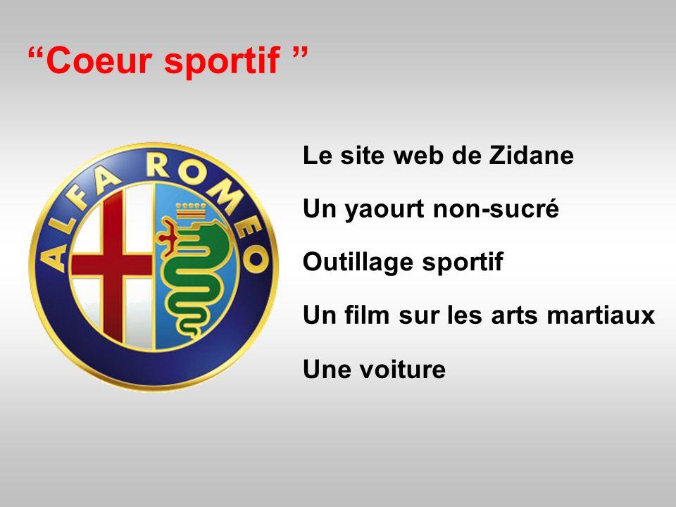 Coeur sportif Le site web de Zidane Un yaourt non-sucré Une voiture Outillage sportif Un film sur les arts martiaux