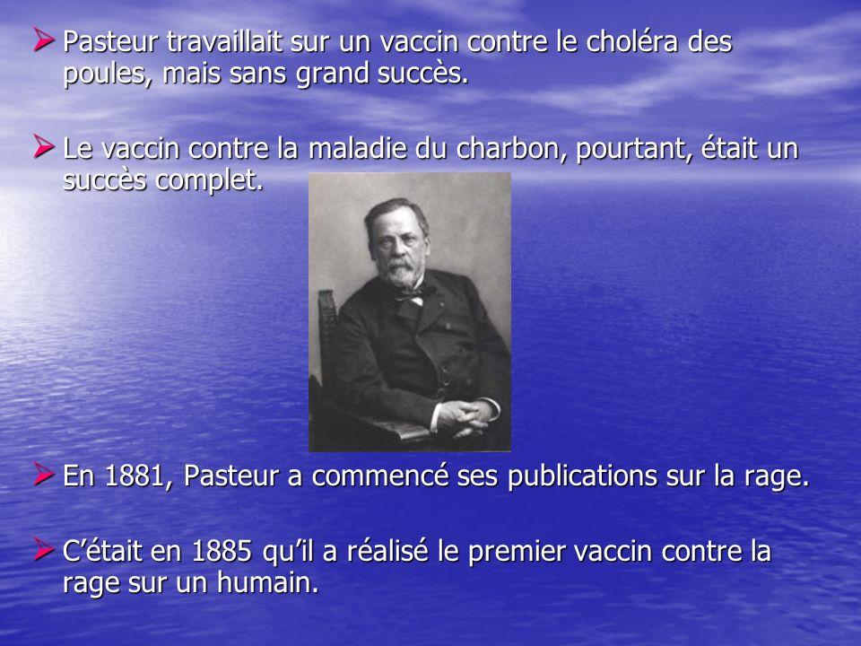 Pasteur travaillait sur un vaccin contre le choléra des poules, mais sans grand succès. Pasteur travaillait sur un vaccin contre le choléra des poules