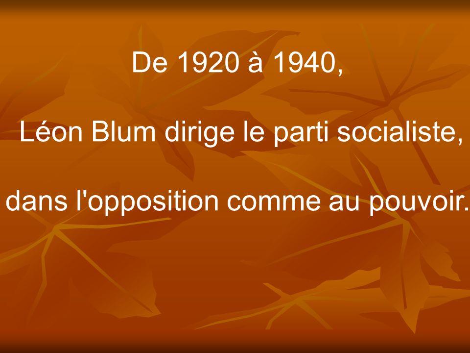De 1920 à 1940, Léon Blum dirige le parti socialiste, dans l'opposition comme au pouvoir.