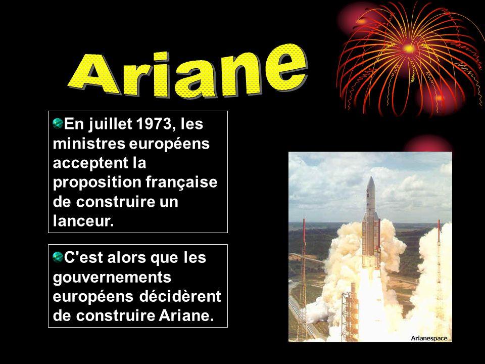 En juillet 1973, les ministres européens acceptent la proposition française de construire un lanceur. C'est alors que les gouvernements européens déci