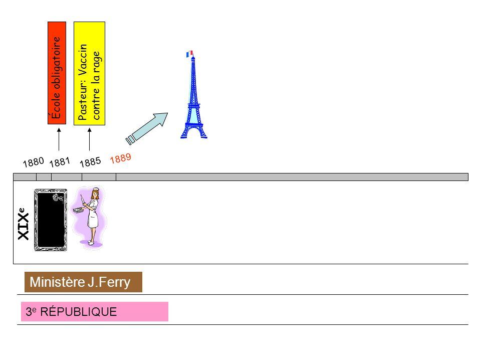 XIX e 188018811885 École obligatoire Pasteur: Vaccin contre la rage 1889 3 e RÉPUBLIQUE Ministère J.Ferry