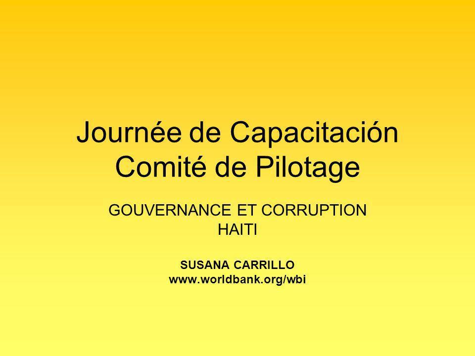 Journée de Capacitación Comité de Pilotage GOUVERNANCE ET CORRUPTION HAITI SUSANA CARRILLO www.worldbank.org/wbi