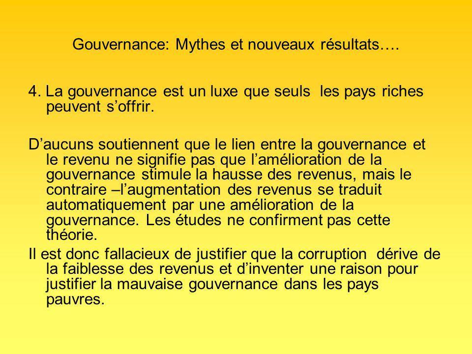 Gouvernance: Mythes et nouveaux résultats…. 4.