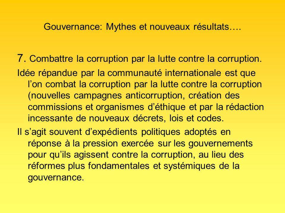 Gouvernance: Mythes et nouveaux résultats…. 7.