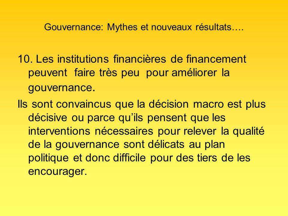 Gouvernance: Mythes et nouveaux résultats…. 10.