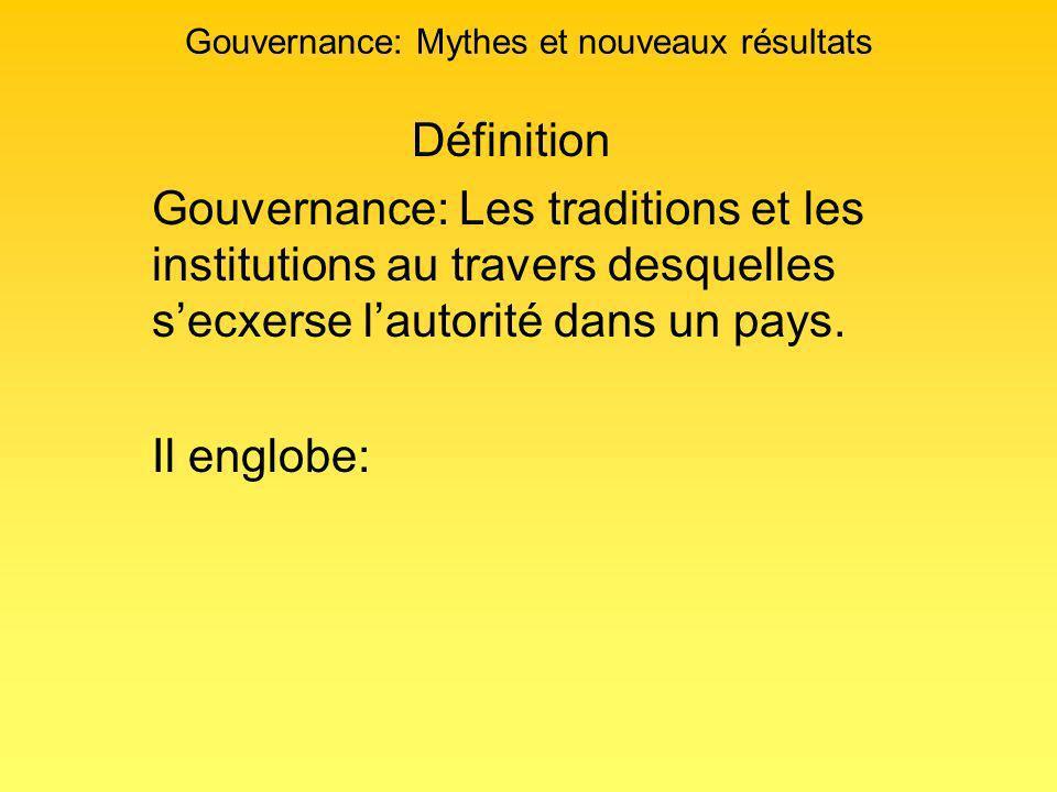 Gouvernance: Mythes et nouveaux résultats Définition Gouvernance: Les traditions et les institutions au travers desquelles secxerse lautorité dans un pays.
