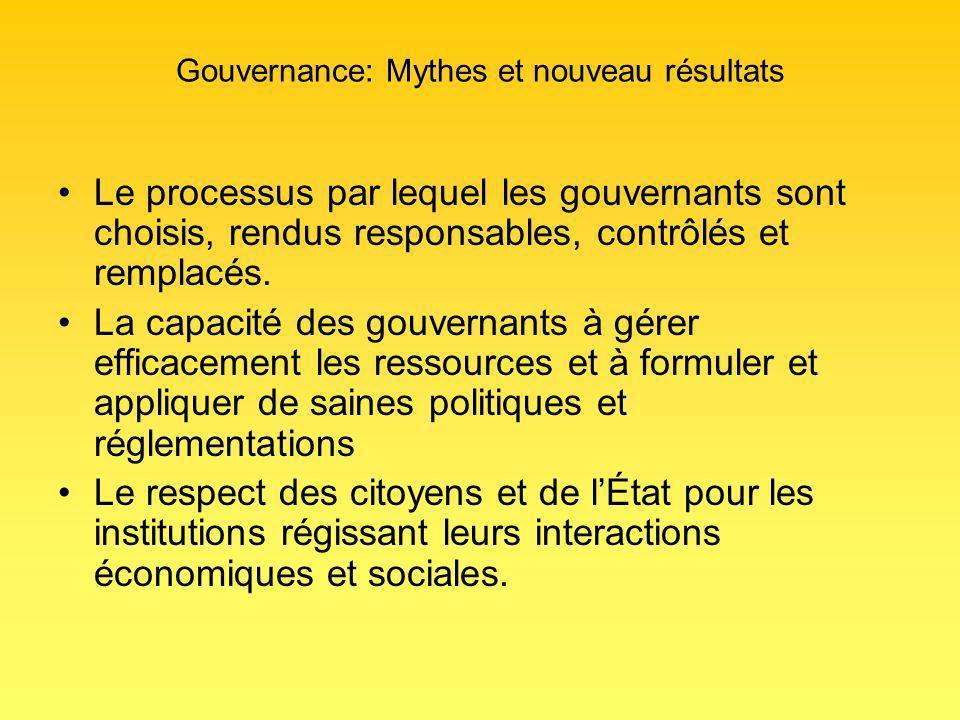 Gouvernance: Mythes et nouveau résultats Le processus par lequel les gouvernants sont choisis, rendus responsables, contrôlés et remplacés.