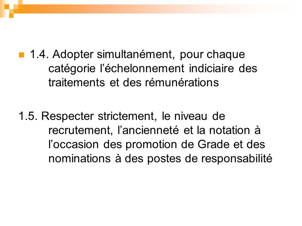 1.4. Adopter simultanément, pour chaque catégorie léchelonnement indiciaire des traitements et des rémunérations 1.5. Respecter strictement, le niveau