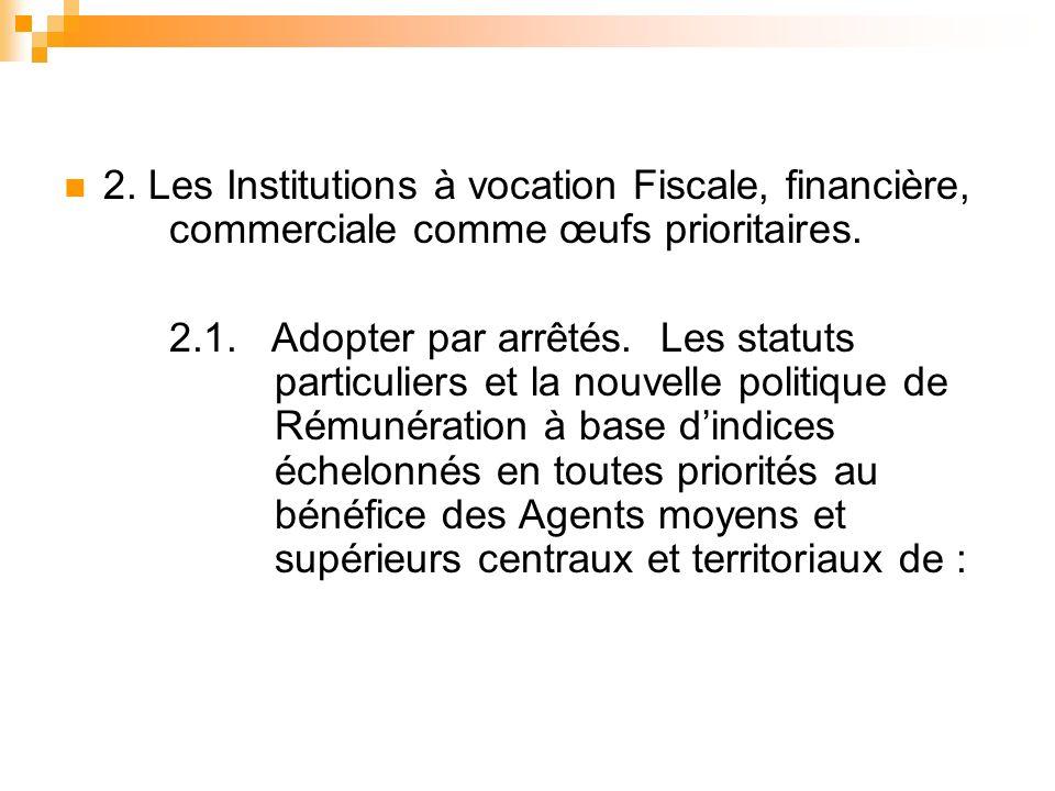 2. Les Institutions à vocation Fiscale, financière, commerciale comme œufs prioritaires.