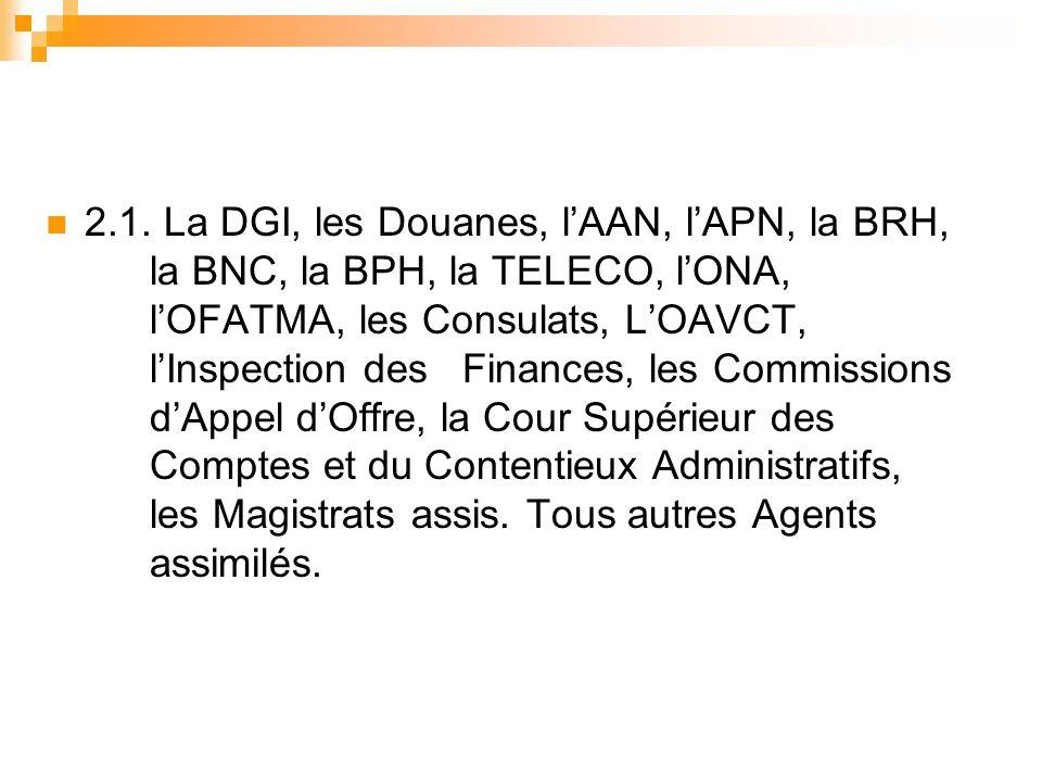 2.1. La DGI, les Douanes, lAAN, lAPN, la BRH, la BNC, la BPH, la TELECO, lONA, lOFATMA, les Consulats, LOAVCT, lInspection des Finances, les Commissio