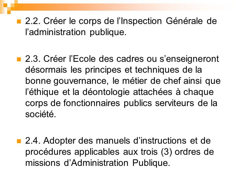 2.2. Créer le corps de lInspection Générale de ladministration publique.