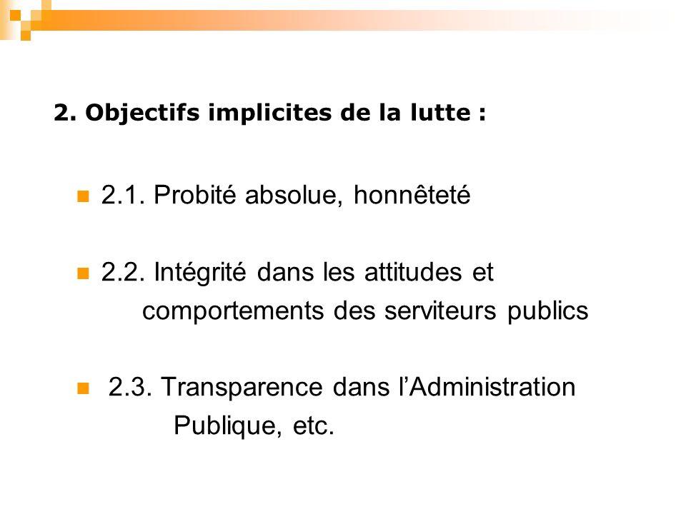 2. Objectifs implicites de la lutte : 2.1. Probité absolue, honnêteté 2.2.
