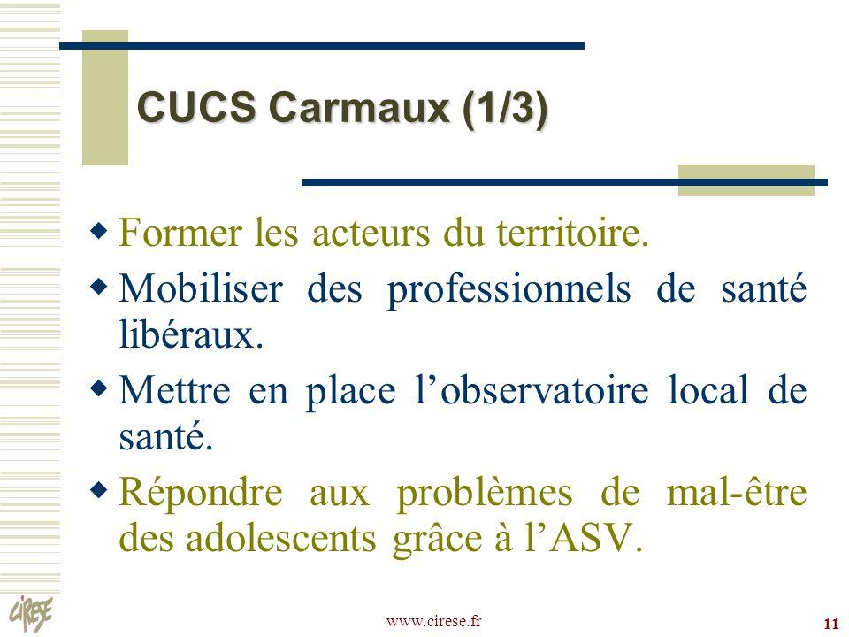 www.cirese.fr 11 CUCS Carmaux (1/3) Former les acteurs du territoire. Mobiliser des professionnels de santé libéraux. Mettre en place lobservatoire lo