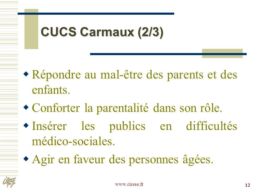 www.cirese.fr 12 CUCS Carmaux (2/3) Répondre au mal-être des parents et des enfants. Conforter la parentalité dans son rôle. Insérer les publics en di