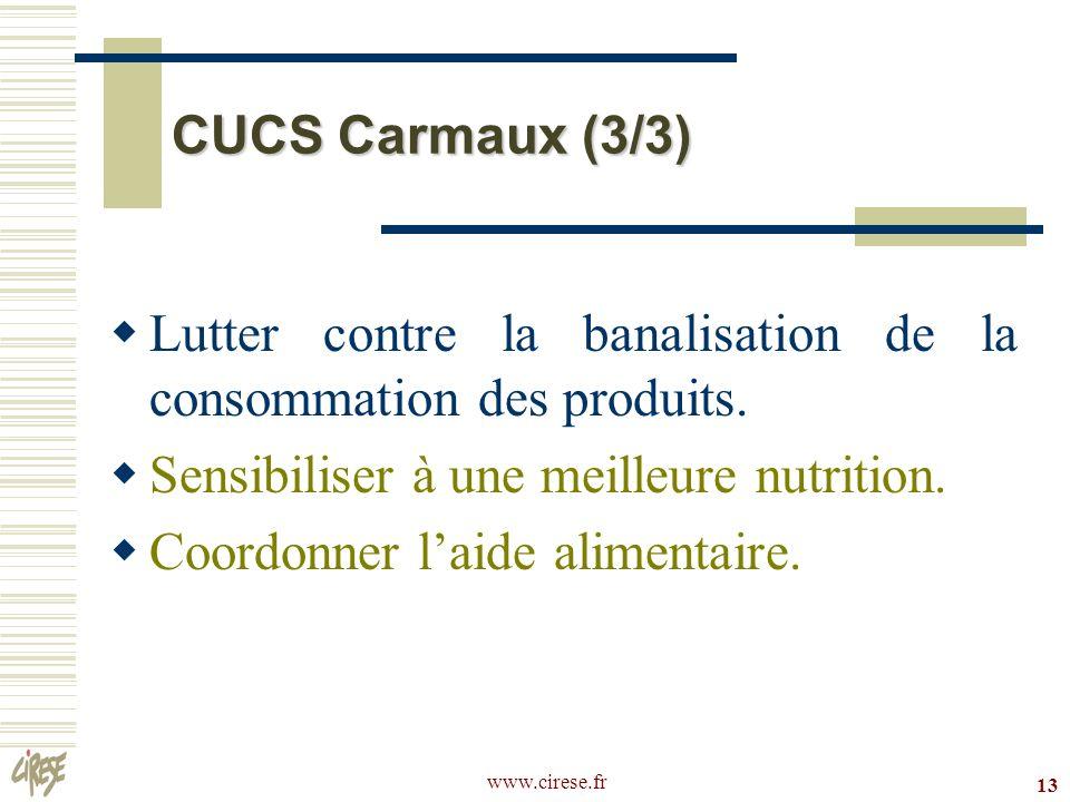 www.cirese.fr 13 CUCS Carmaux (3/3) Lutter contre la banalisation de la consommation des produits. Sensibiliser à une meilleure nutrition. Coordonner