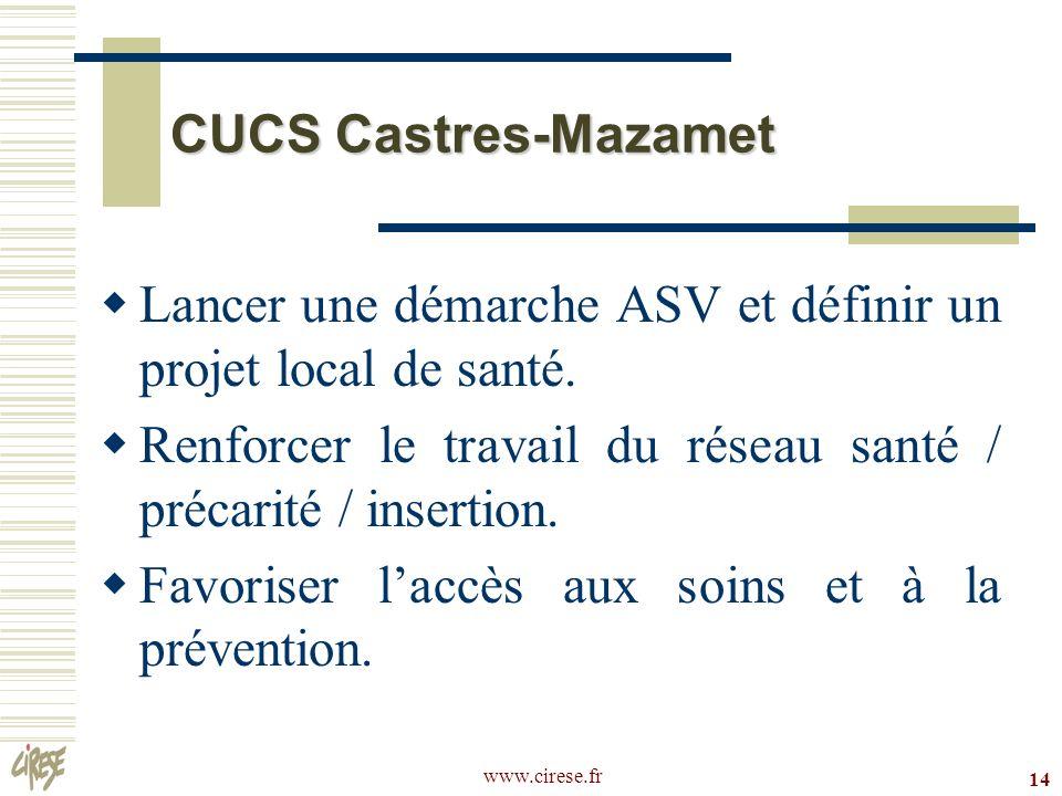 www.cirese.fr 14 CUCS Castres-Mazamet Lancer une démarche ASV et définir un projet local de santé. Renforcer le travail du réseau santé / précarité /