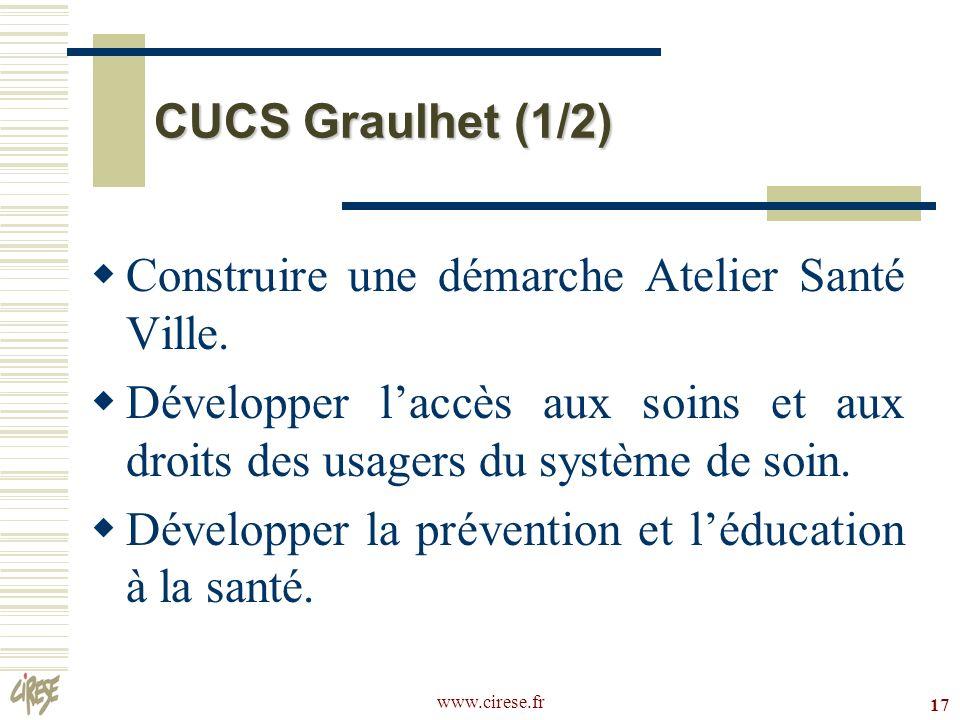 www.cirese.fr 17 CUCS Graulhet (1/2) Construire une démarche Atelier Santé Ville. Développer laccès aux soins et aux droits des usagers du système de
