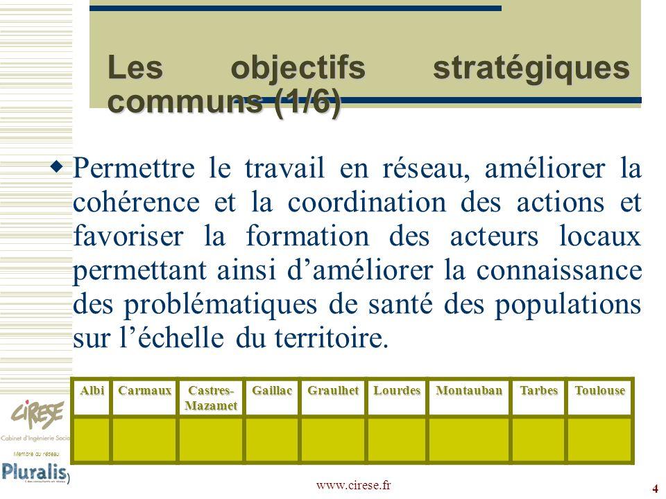 Membre du réseau www.cirese.fr 4 Les objectifs stratégiques communs (1/6) Permettre le travail en réseau, améliorer la cohérence et la coordination de