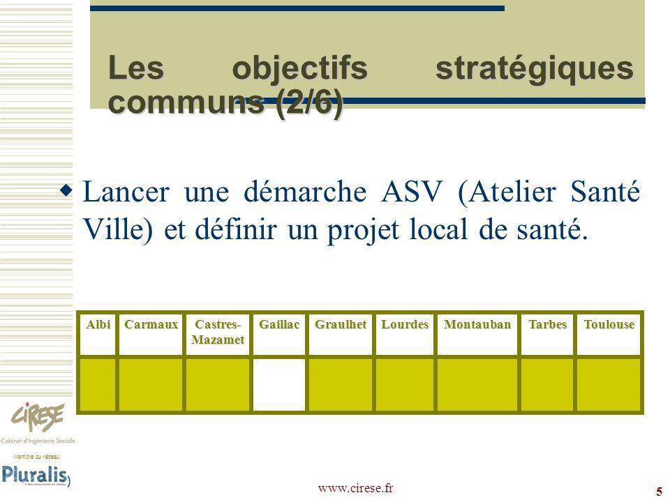 Membre du réseau www.cirese.fr 5 Les objectifs stratégiques communs (2/6) Lancer une démarche ASV (Atelier Santé Ville) et définir un projet local de
