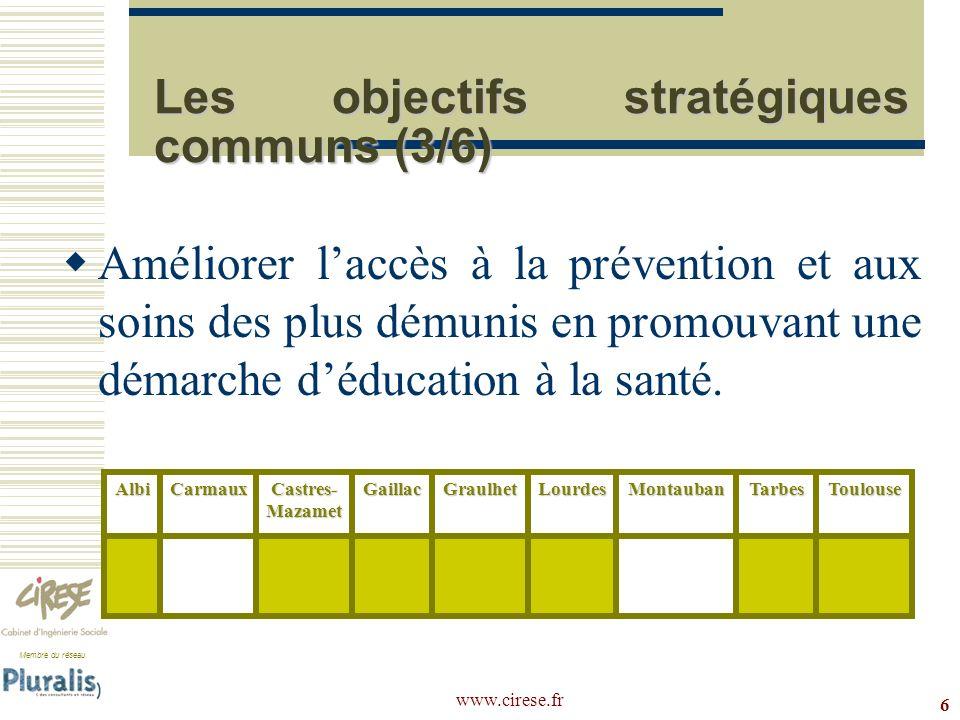 Membre du réseau www.cirese.fr 6 Les objectifs stratégiques communs (3/6) Améliorer laccès à la prévention et aux soins des plus démunis en promouvant