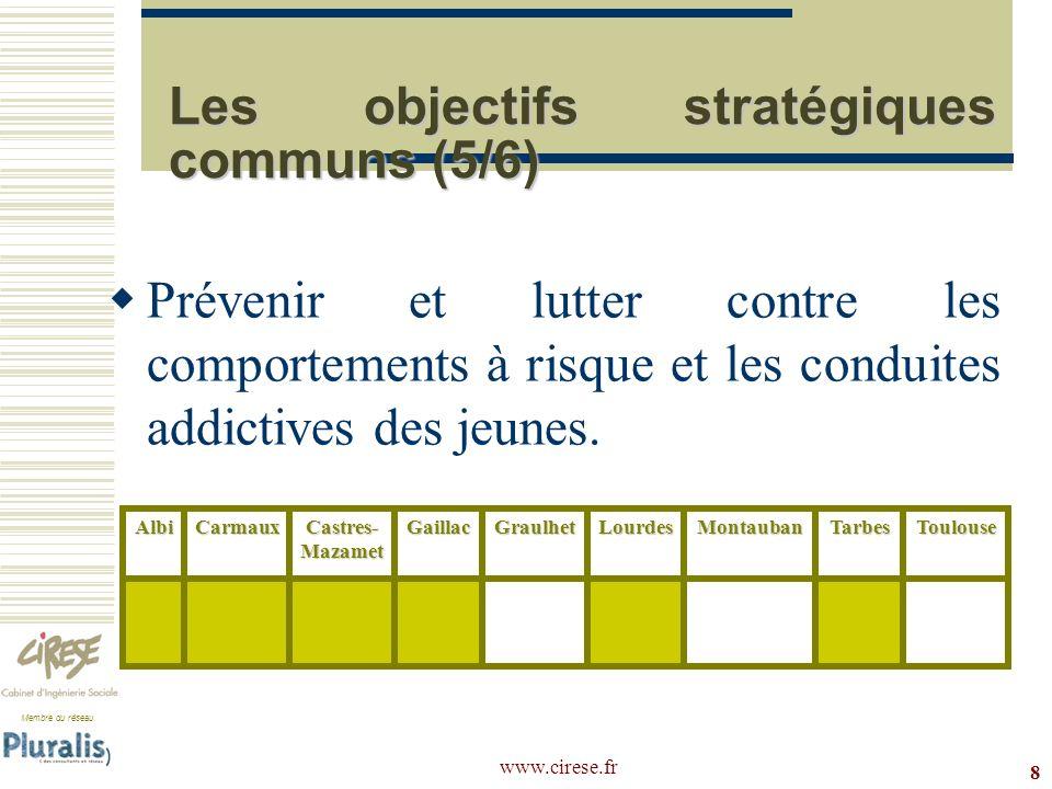 Membre du réseau www.cirese.fr 8 Les objectifs stratégiques communs (5/6) Prévenir et lutter contre les comportements à risque et les conduites addict