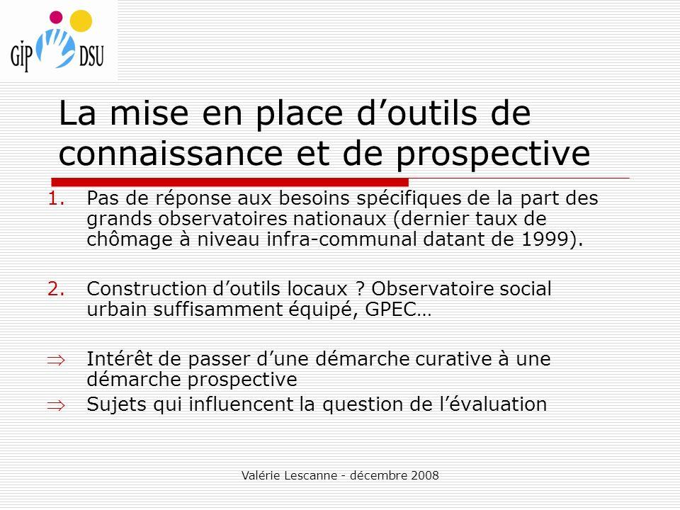 Valérie Lescanne - décembre 2008 La mise en place doutils de connaissance et de prospective 1.Pas de réponse aux besoins spécifiques de la part des grands observatoires nationaux (dernier taux de chômage à niveau infra-communal datant de 1999).