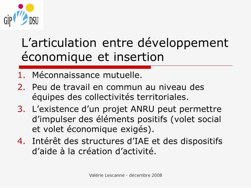 Valérie Lescanne - décembre 2008 Larticulation entre développement économique et insertion 1.Méconnaissance mutuelle.