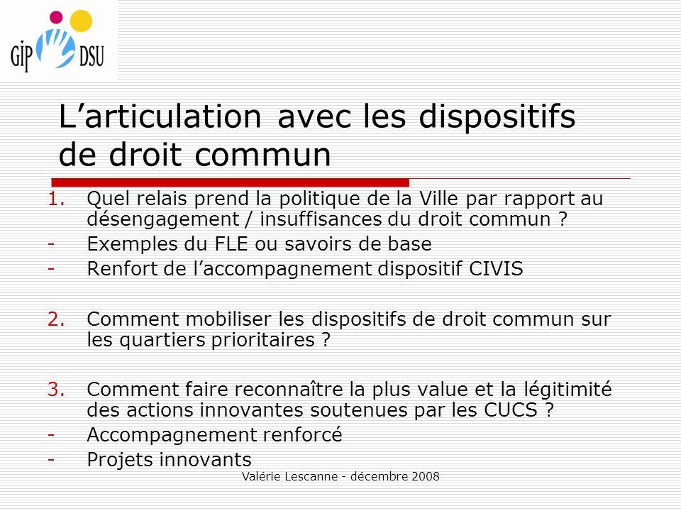 Valérie Lescanne - décembre 2008 Larticulation avec les dispositifs de droit commun 1.Quel relais prend la politique de la Ville par rapport au désengagement / insuffisances du droit commun .