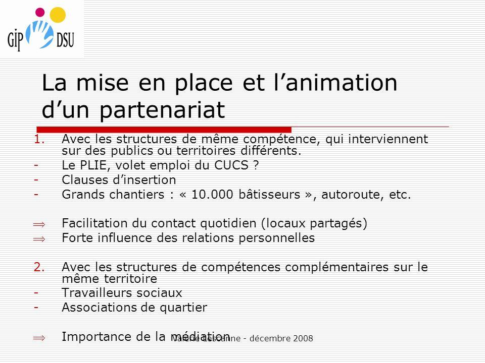 Valérie Lescanne - décembre 2008 La mise en place et lanimation dun partenariat 1.Avec les structures de même compétence, qui interviennent sur des publics ou territoires différents.