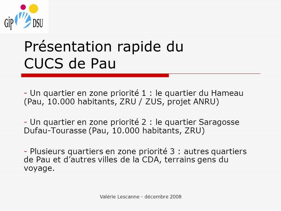 Valérie Lescanne - décembre 2008 Présentation rapide du CUCS de Pau - Un quartier en zone priorité 1 : le quartier du Hameau (Pau, 10.000 habitants, ZRU / ZUS, projet ANRU) - Un quartier en zone priorité 2 : le quartier Saragosse Dufau-Tourasse (Pau, 10.000 habitants, ZRU) - Plusieurs quartiers en zone priorité 3 : autres quartiers de Pau et dautres villes de la CDA, terrains gens du voyage.