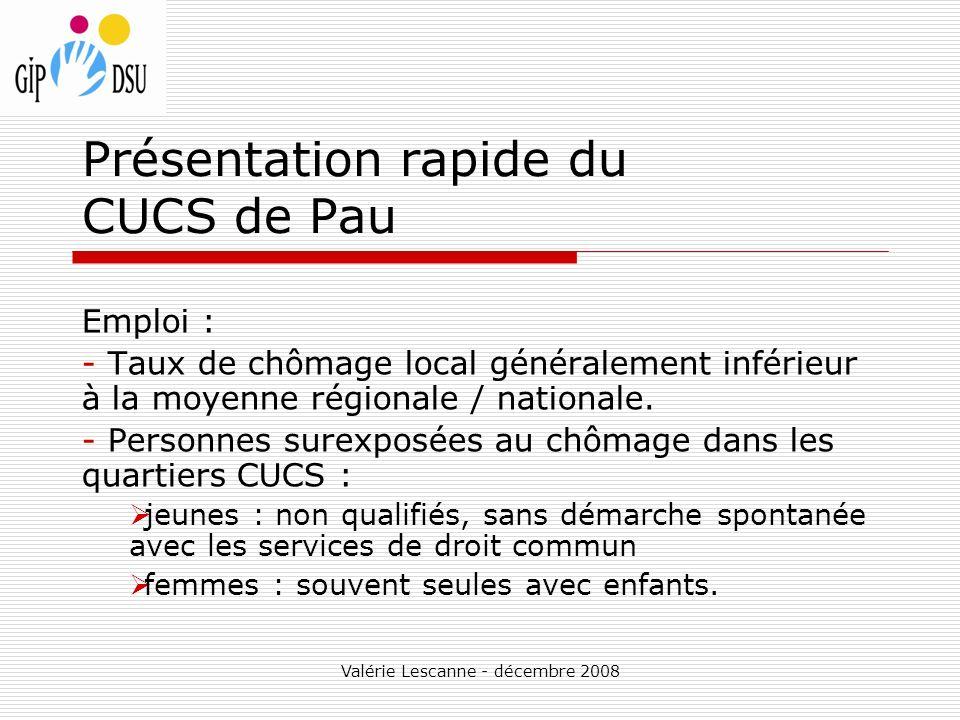 Valérie Lescanne - décembre 2008 Présentation rapide du CUCS de Pau Emploi : - Taux de chômage local généralement inférieur à la moyenne régionale / nationale.