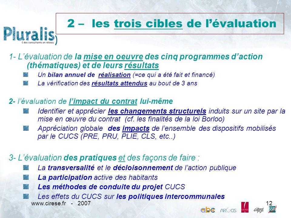 www.cirese.fr - 200712 2 – les trois cibles de lévaluation 1- Lévaluation de la mise en oeuvre des cinq programmes daction (thématiques) et de leurs r