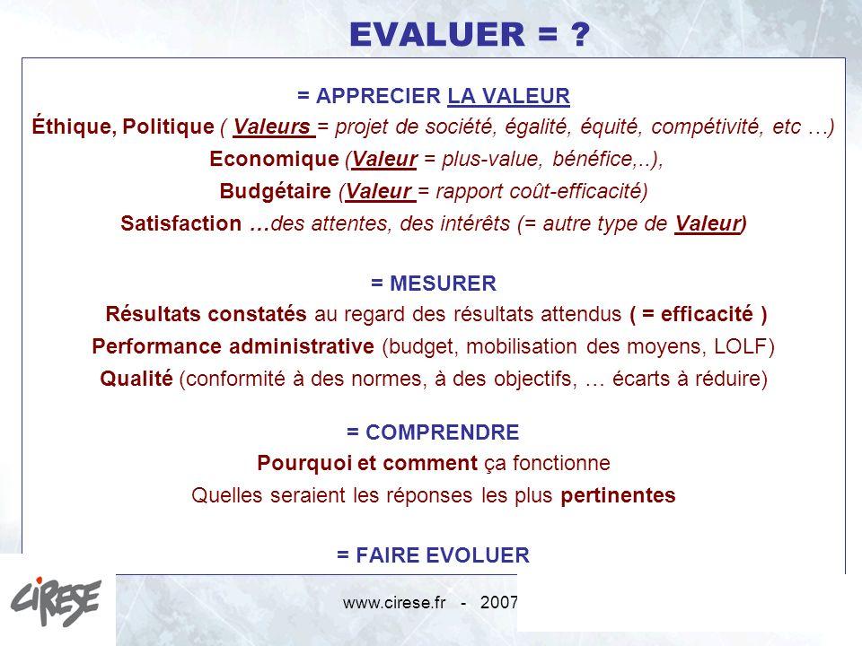 www.cirese.fr - 20072 EVALUER = ? = APPRECIER LA VALEUR Éthique, Politique ( Valeurs = projet de société, égalité, équité, compétivité, etc …) Economi