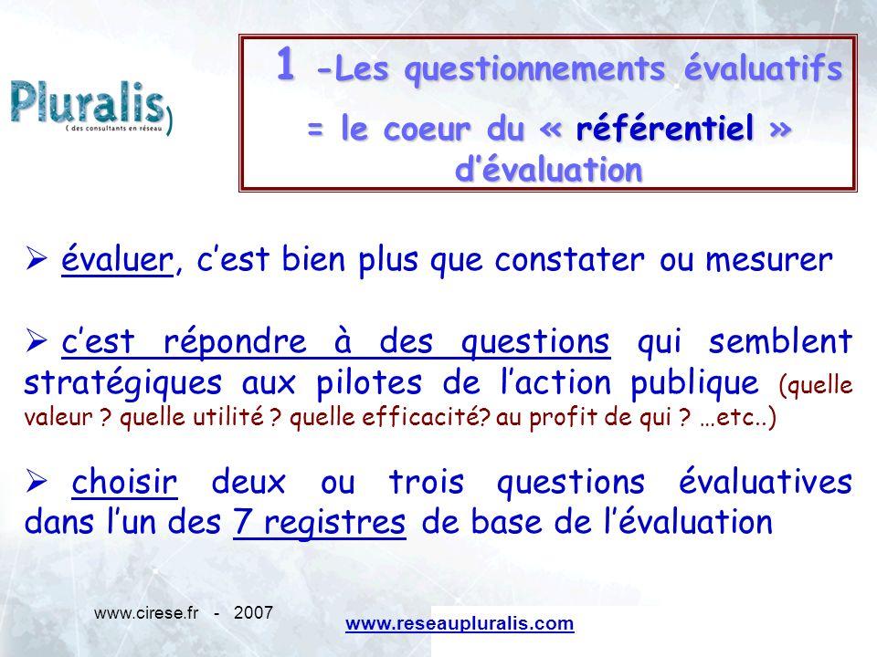 www.cirese.fr - 20075 1 -Les questionnements évaluatifs 1 -Les questionnements évaluatifs = le coeur du « référentiel » dévaluation évaluer, cest bien
