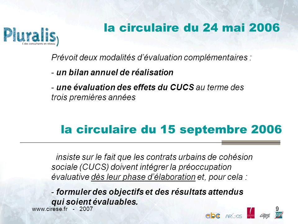 www.cirese.fr - 20079 la circulaire du 24 mai 2006 Prévoit deux modalités dévaluation complémentaires : - un bilan annuel de réalisation - une évaluat