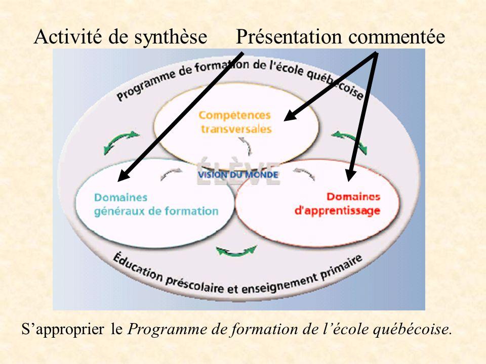 Activité de synthèsePrésentation commentée Sapproprier le Programme de formation de lécole québécoise.