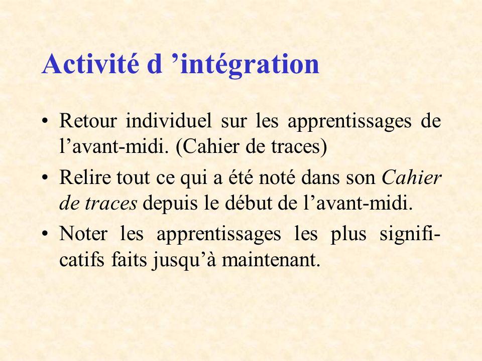 Activité d intégration Retour individuel sur les apprentissages de lavant-midi. (Cahier de traces) Relire tout ce qui a été noté dans son Cahier de tr