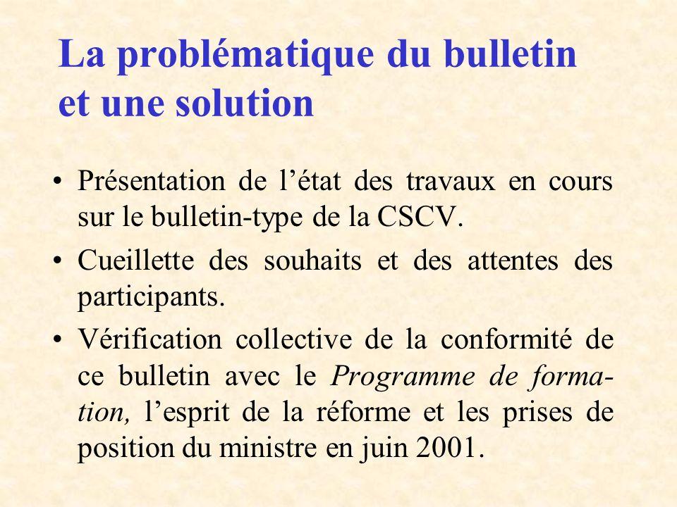 La problématique du bulletin et une solution Présentation de létat des travaux en cours sur le bulletin-type de la CSCV. Cueillette des souhaits et de