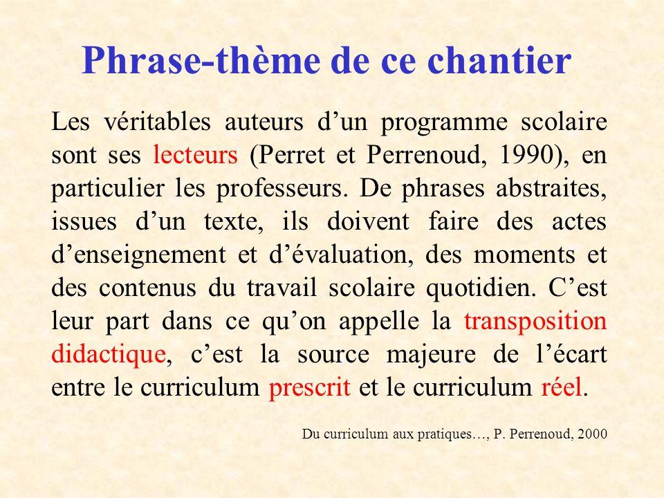 Phrase-thème de ce chantier Les véritables auteurs dun programme scolaire sont ses lecteurs (Perret et Perrenoud, 1990), en particulier les professeur
