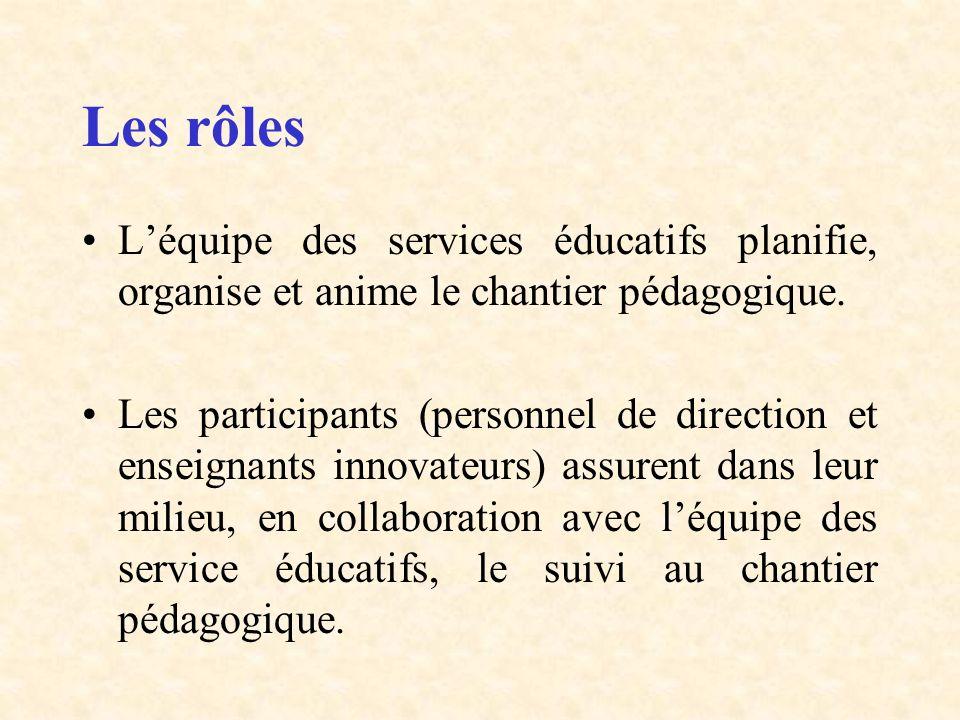 Les rôles Léquipe des services éducatifs planifie, organise et anime le chantier pédagogique. Les participants (personnel de direction et enseignants