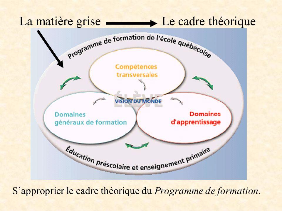 La matière griseLe cadre théorique Sapproprier le cadre théorique du Programme de formation.