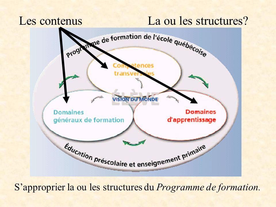 La ou les structures Quest-ce que je connais de la ou des structures du Programme de formation .