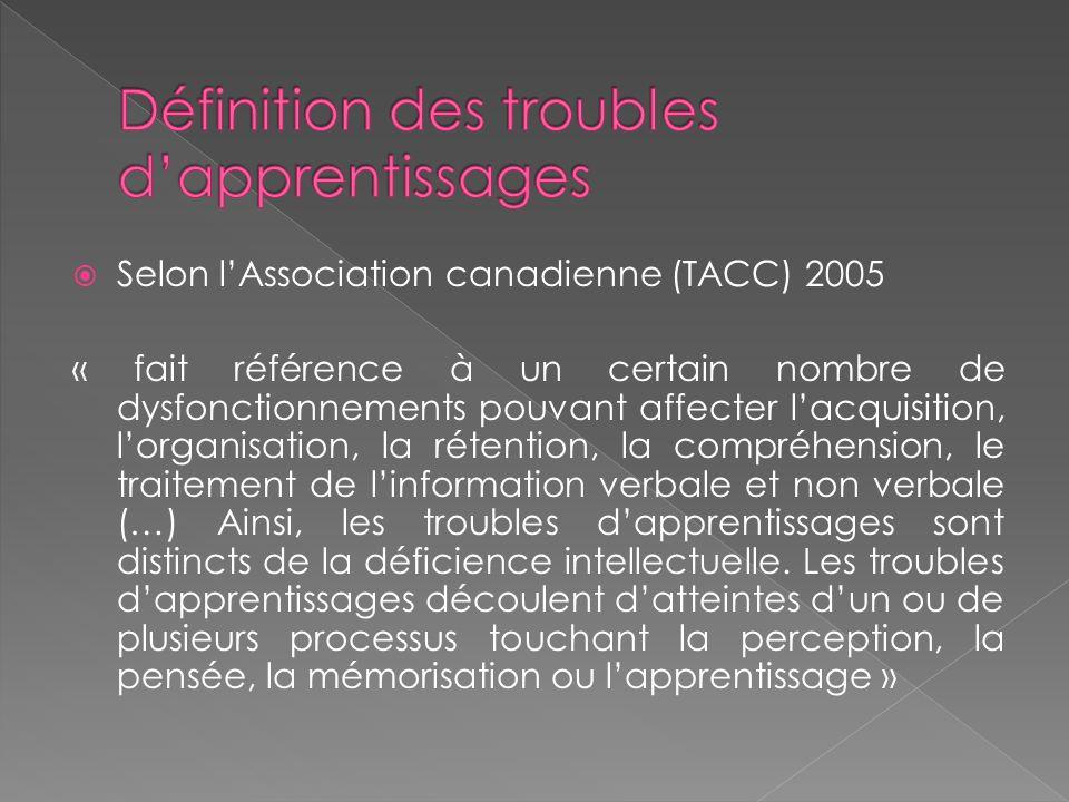 Selon lAssociation canadienne (TACC) 2005 « fait référence à un certain nombre de dysfonctionnements pouvant affecter lacquisition, lorganisation, la